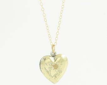 Floral Engraved Heart Locket - Vintage 12K Gold-Filled Pendant Necklace - La Mode - Sweetheart Romantic Gift - circa 1950 - Vintage Jewelry