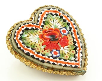 Vintage Heart Shaped Red Rose Micromosaic Brooch - Ribbon Detail Pin - Mosaic Jewelry Made in Italy