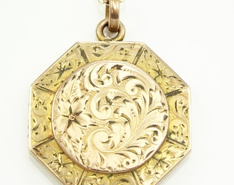 Victorian Hand Engraved Flower Scrolls 10K Gold Filled Octagonal Locket Pendant Necklace - Antique Monogrammed Jewelry - AA Green Locket