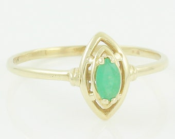 Dainty Gold Emerald Ring - 10K Yellow Gold Natural Emerald Marquise Ring Size 8 - 1980s Vintage Fine Jewelry
