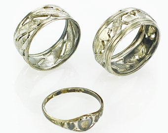 Vintage Lot of 3 Sterling Silver Rings Uncas Espo Kiddiegem - Uncas Orange Blossom Band - Espo Heart Orange Blossom Band - Kiddiegem Signet