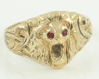 Vintage Figural Lion Head Ring - 1/30 14K RGP Rolled Gold Plate Clark & Coombs Red Glass Eyes - Size 9.5 - Vintage Mans Jewelry