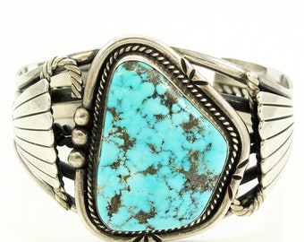 Vintage Southwestern Sterling Turquoise Cuff Bracelet - Native Statement Silver Jewelry