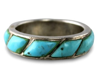 Southwestern Silver Turquoise Ring - Sterling Silver Raised Cabochon Turquoise Inlay Wedding Band Hippie - New Old Stock -  Vintage Jewelry