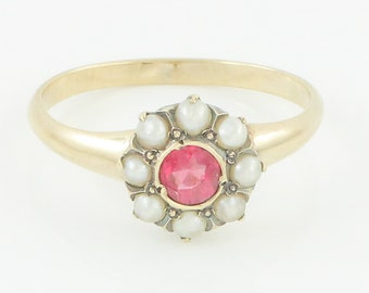 Georgian 14K Garnet Seed Pearl Ring - Rhodolite Seed Pearl Flower Halo Ring Yellow Gold - Sz 8- Vintage Fine Jewelry - Antique English Ring