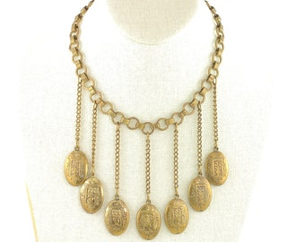 Art Deco Festoon Necklace with Oval Dangle Ornaments Book Chain - 16 inch Long with 3.25 inch Drop - 1930s Brass Collar - Vintage Jewelry