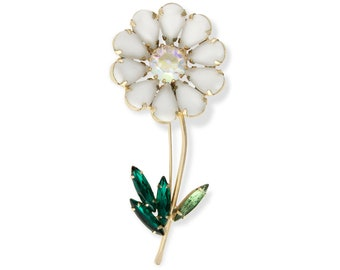 Vintage Milkglass and Rhinestone Mod Daisy Flower Brooch circa 1960 - Vintage Figural Costume Jewelry - Loves Me Loves Me Not Pin