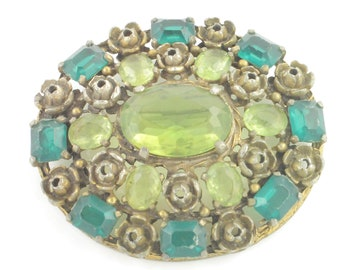 Vintage Olive Emerald Green STATEMENT BROOCH Flower Pin - Antique Gold Tone Rose Floral Decorations - Circa 1940 - Vintage Costume Jewelry