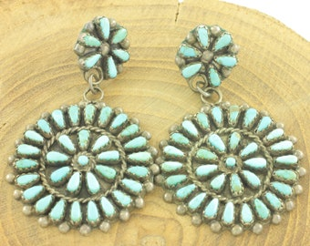 Vintage Sterling Turquoise Needlepoint Earrings - Signed JLD - Large Silver Double Rosette Dangle Earrings - Vintage Southwestern Jewelry