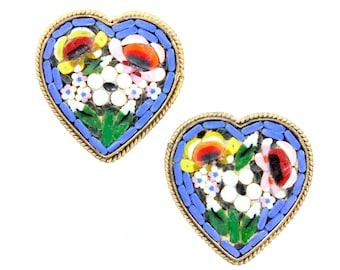 Vintage Italian Micro Mosaic Multicolored Floral Heart Earrings - Blue Flower Screw Back Earrings - Circa 1930 - Vintage Jewelry