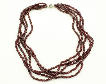 Garnet Bead Necklace - Five Strands Faceted Almandite Beads - Vintage Statement Necklace circa 1980