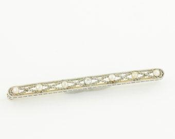 Edwardian Diamond Platinum Seed Pearl 14K Filigree Bar Pin - .10 CT Old European Cut Natural Diamond - 5.7g c1920- Antique Vintage Jewelry