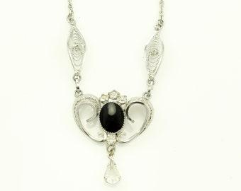 Filigree Black Onyx Necklace - 1940s Ann Lee Sterling Rhinestone Pendant - Vintage Signed Jewelry