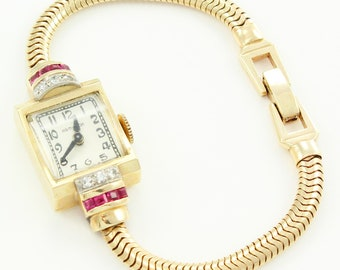 Vintage Hamilton Watch - 14K Ladies Diamond Created Ruby Yellow Gold Wrist Watch - Art Moderne Jewelry - 17 Jewels Running Apex Case
