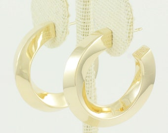 Vintage Tiffany & Co. Gold Earrings - 14K Beveled Twist Hoop Earrings - 585 Yellow Gold 29.5 mm 11 grams - Estate Vintage Fine Jewelry
