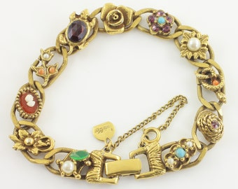"""Victorian Revival Judy Lee Faux Slide Bracelet Gold Tone - Cameo Turtle Simulated Pearl Gems- circa 1950 - 7.5"""" - Vintage Costume Jewelry"""