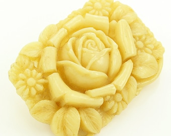 Vintage Japanese Art Deco Floral Celluloid Brooch - Cream Plastic Rose Flower Pin - Japan Early 1930s Jewelry