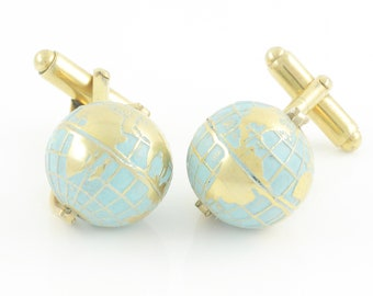 Vintage Spinning Globe Cuff Links - Blue Enamel on Gold Tone - Travel Wanderlust Geography Jewelry - Austria Circa 1950 - Vintage Jewelry