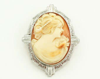 Art Deco 10K White Gold Shell Cameo Brooch Pendant - Antique Filigree Hand Carved Cameo Pin - Semco Jewelry