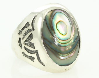 Vintage Mans Sterling Silver Abalone Ring Bell Trading Post Arrow Big V New Old Stock 8.5 -  Men's Silver Estate Ring - Southwestern Jewelry
