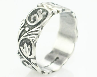 Art Nouveau Silver Wedding Band - Antique Acanthus Scroll Flourish Sterling Ring - Size 10 - Uncas Mark - Vintage Estate Jewelry