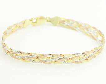 Sterling 10K Gold Filled Braided Herringbone Bracelet - 1980s Tri Color Silver Rose Yellow Gold Wide Flat Chain Bracelet - Vintage Jewelry