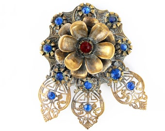 Art Deco Filigree Flower Dress Clip Red and Blue Rhinestone Antiqued Gold Tone - Estate Jewelry - Vintage Costume Jewelry