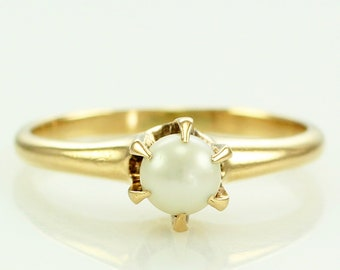 Vintage 14K 4.5mm Cultured Pearl Solitaire Engagement Ring Size 5 - Yellow Gold Estate Jewelry