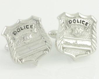 Vintage Police Badge Cuff Links Swank Original Box -  Vintage Law Enforcement Silver Tone Cufflinks - Engraveable LEO Shield - Mens Jewelry
