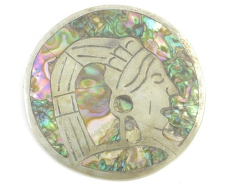 Aztec Warrior Abalone Sterling Pendant Brooch - Taxco Mexico 925 Silver Shell RPG Eagle Mark 3 - Vintage Mexican Silver Jewelry