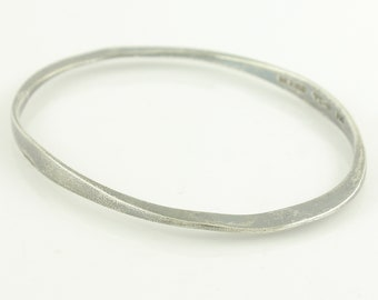 Mexican Sterling Silver Oval Bangle Bracelet - Tasco Minimalist Modernist Bracelet - 7.75 inches 11.5 grams TC-111 - Vintage Fine Jewelry
