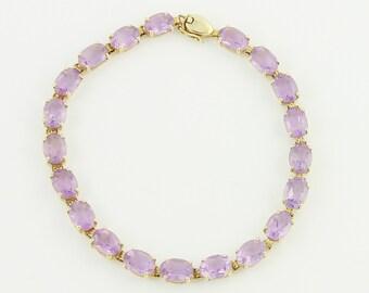 10K Amethyst Straight Line Bracelet - Yellow Gold February Birthstone Tennis Bracelet - 13 Carats Light Amethyst - 1980s Vintage Jewelry