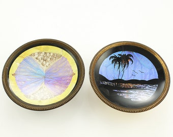 Vintage Hoffman Morpho Butterfly Wing Pin Dish Set of Two Souvenir of Bermuda Brass Base