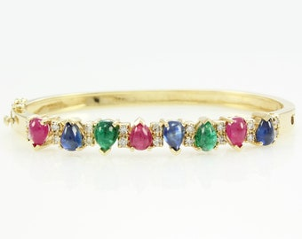 Eighties 14K 10 CTTW Diamond Ruby Sapphire Emerald Cabochon Bangle Bracelet - 26.4 grams 7 inch Yellow Gold - 1980s Vintage Estate Jewelry