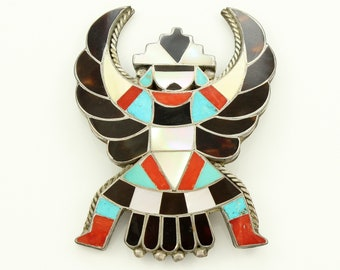 Vintage Multi Stone Inlaid Eagle Dancer Southwestern Sterling Brooch - Turquoise Silver Jewelry - Shell Silver Inlay Southwest Pin