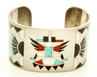 Zuni Lolita Natachu Signed Knifewing Sterling Cuff Bracelet - 1970s Vintage Overlay Inlay Native American Jewelry