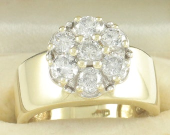 Vintage 1 CT TW Diamond Cluster 14K Yellow Gold Tapered Band Engagement Ring - 1990s 5.8 gram Size 5.75 - Vintage Estate Jewelry