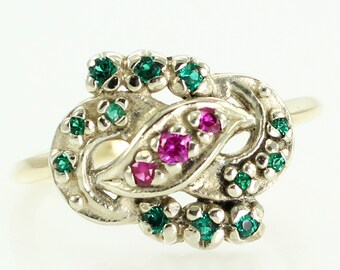 Vintage Mid Century 14K Love Knot Lab Created Ruby Emerald Cluster Ring - Estate Jewelry - 14K Two-Tone White Yellow Gold Infinity Ring