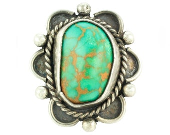 Vintage 1970's Pilot Turquoise Southwest Sterling Silver Ring Size 5 1/2 - Hand-Made Hippie Jewelry