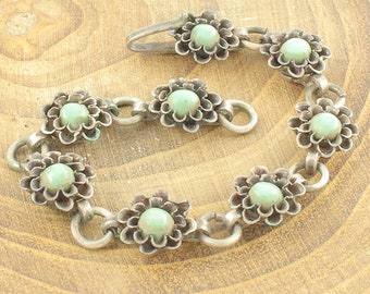 Vintage Southwestern Turquoise Flower Baby Bracelet - 8 Floral Posey Links - 4.5 inches 6 grams - circa 1950 - Vintage Fine Jewelry