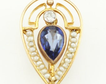 Edwardian 14K Stick Pin Created Sapphire Seed Pearls - Yellow Gold Antique Cravat Pin - Perfect for Conversion to Ring - Vintage Jewelry