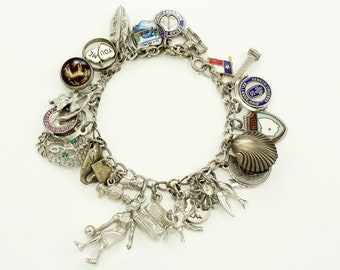 Vintage Loaded Sterling Silver 24 Charm Bracelet - Sentimental Retro Jewelry