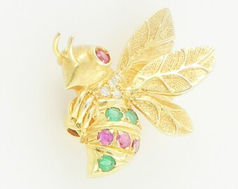 Bee Pin Gold Diamond Emerald Ruby - 14K Yellow Gold Wasp Yellow Jack Bumble Bee Brooch circa 1980 - Vintage Fine Jewelry