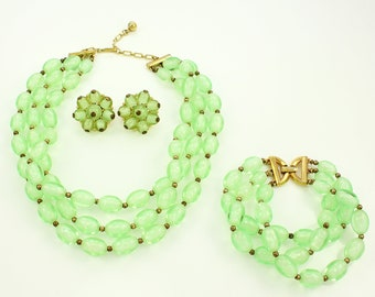 Vintage Mint Green Beaded Trifari Demi-Parure - Frosted Core Bead Demi-Parure - 1950s Necklace Bracelet Earrings - Crown Trifari Jewelry