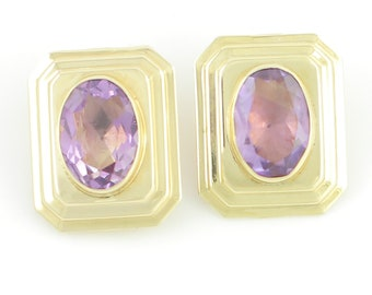 Big Gold Amethyst Earrings - 14K Yellow Gold 10 CT Oval Amethyst Oversized Clip Ons 6.6g -Signed Peter Brams Designs - 1980s Vintage Jewelry