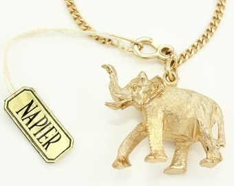 Napier Large Lucky Elephant Charm Bracelet - 6 Inch Gold Tone Curb Chain with Original Tag Advertised in Glamour - Vintage Jewelry