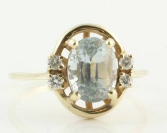 Blue Zircon Ring - 14K Yellow Gold Natural Zircon and Diamond Ring - Retro Jewelry 1980s