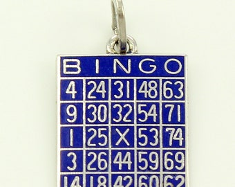 Lucky Vintage Bingo Charm - Blue Enamel Sterling Silver Game Card - Beau Sterling Pendant - 1960s Vintage Jewelry Charms