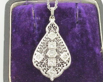 "Edwardian 14K White Gold Diamond Filigree Pendant Necklace - Antique .42 CT TW Filigree Lavaliere Necklace on 18"" Contemporary Rolo Chain"