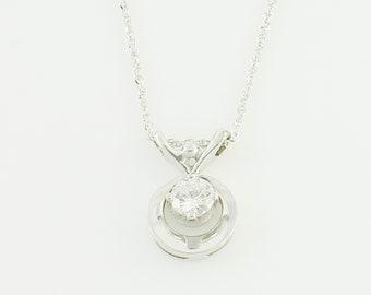 Mid Century Diamond Necklace - 14K White Gold .25 Carat Natural Diamond Solitaire Pendant - Fine Estate Jewelry